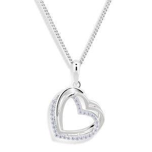 Modesi Srdíčkový náhrdelník se zirkony M43059 (řetízek, přívěsek)