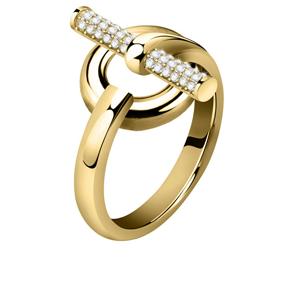 Morellato Elegantní pozlacený prsten z oceli s krystaly Abbraccio SAUC09 56 mm