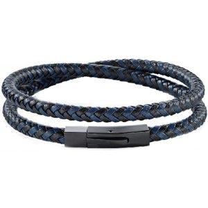 Morellato Pánský modro-černý kožený náramek Moody SQH16