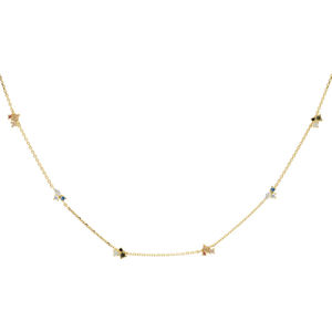 PD PAOLA Pozlacený náhrdelník ze stříbra se zirkony LA PALETTE Gold CO01-179-U