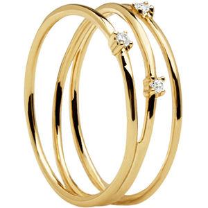 PDPAOLA Trojitý pozlacený prsten ze stříbra s třpytivými zirkony COUGAR Gold AN01-120 54 mm