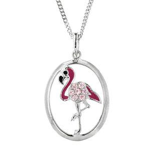Praqia Dětský stříbrný náhrdelník Plameňák KO8083_CU040_45_RH (řetízek, přívěsek)