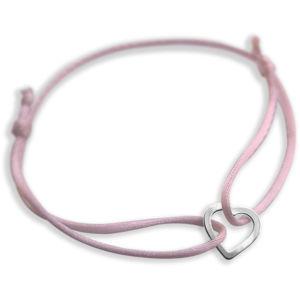 Praqia Šňůrkový růžový kabala náramek Srdíčko KA6180