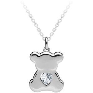 Preciosa Stříbrný náhrdelník Shiny Teddy s kubickou zirkonií Preciosa 5326 00 (řetízek, přívěsek)