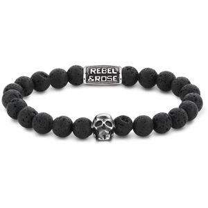 Rebel&Rose Korálkový náramek Skull Black Moon RR-SK001-S 21 cm - XL