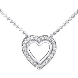 Silvego Stříbrný náhrdelník SRDCE ZTJ81045PVSW (řetízek, přívěsek)