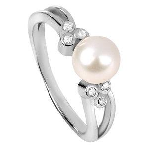 Silver Cat Stříbrný prsten se zirkony a perličkou SC312 54 mm