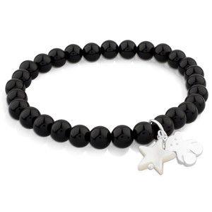 Tous Onyxový náramek s medvídkem a hvězdičkou 515114570-M