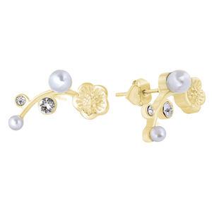 Troli Lalůčkové pozlacené náušnice s krystaly a perlami