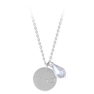 Troli Ocelový náhrdelník Lev se zirkonem (řetízek, 2x přívěsek)