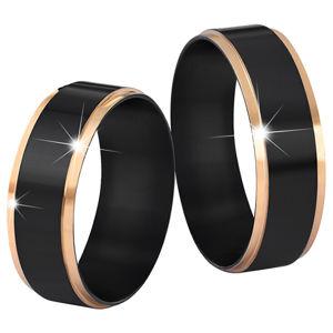 Troli Ocelový snubní prsten černý/zlatý 64 mm