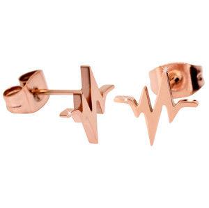 Troli Originální růžově pozlacené ocelové náušnice Srdeční tep
