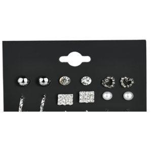 Troli Sada kruhových náušnic a pecek se zirkony Silver (6 párů)