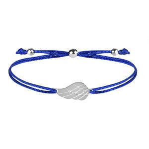 Troli Šňůrkový náramek s andělským křídlem modrá/ocelová