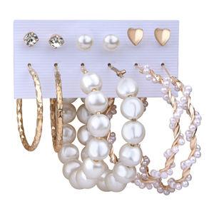 Troli Úžasná sada pozlacených kruhových náušnic a pecek s perlami (6 párů)