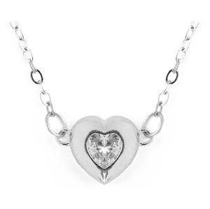 Vuch Krásný ocelový náhrdelník s krystalem Hearty Love